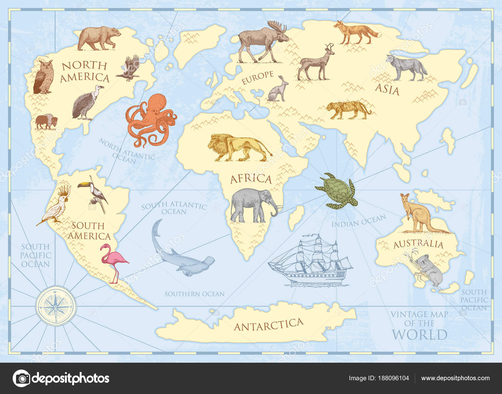 Vintage world map with wild animals and mountains sea creatures in vintage world map with wild animals and mountains sea creatures in the ocean old retro parchment wildlife on earth concept background or poster for gumiabroncs Images