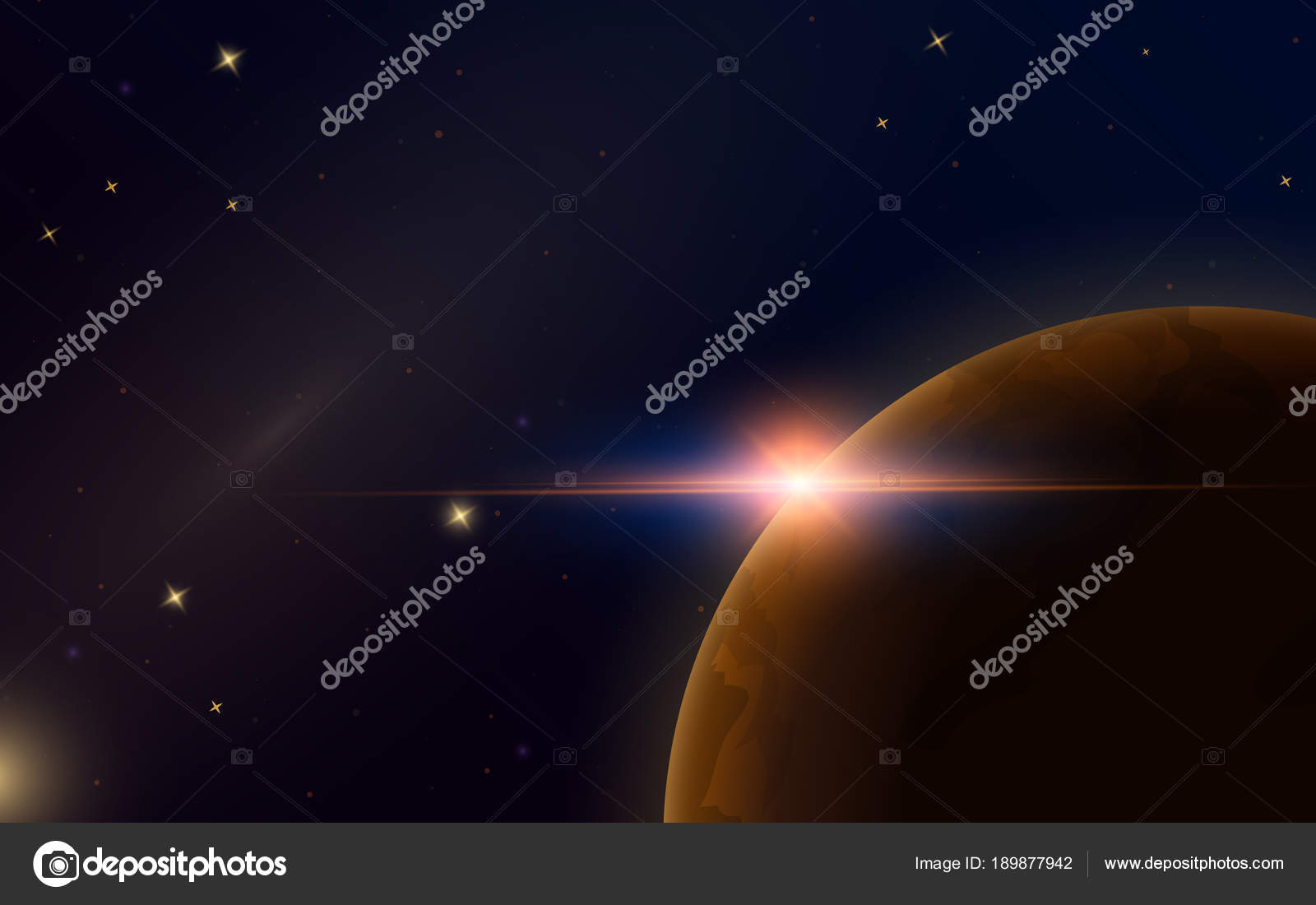 Sunrise In Space Red Planet Mars Astronomical Galaxy Background Light In The Night Sky Solar System For The Banner Modern Design Of The Universe For Cards Stock Vector C Arthurbalitskiy 189877942