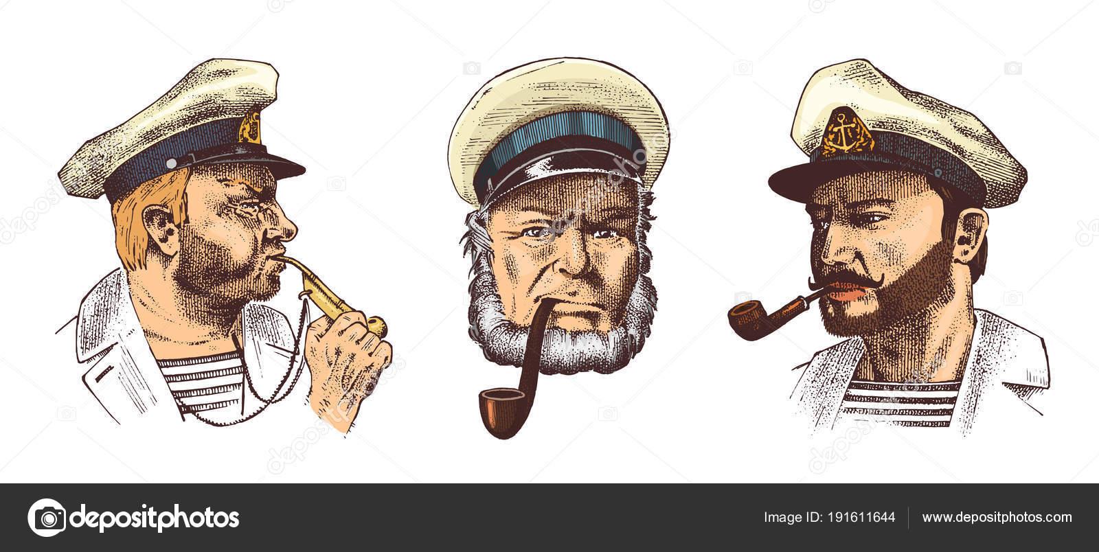 Capitaine de marine, vieux marin avec une pipe ou bluejacket, matelot à barbe ou hommes seafarer.