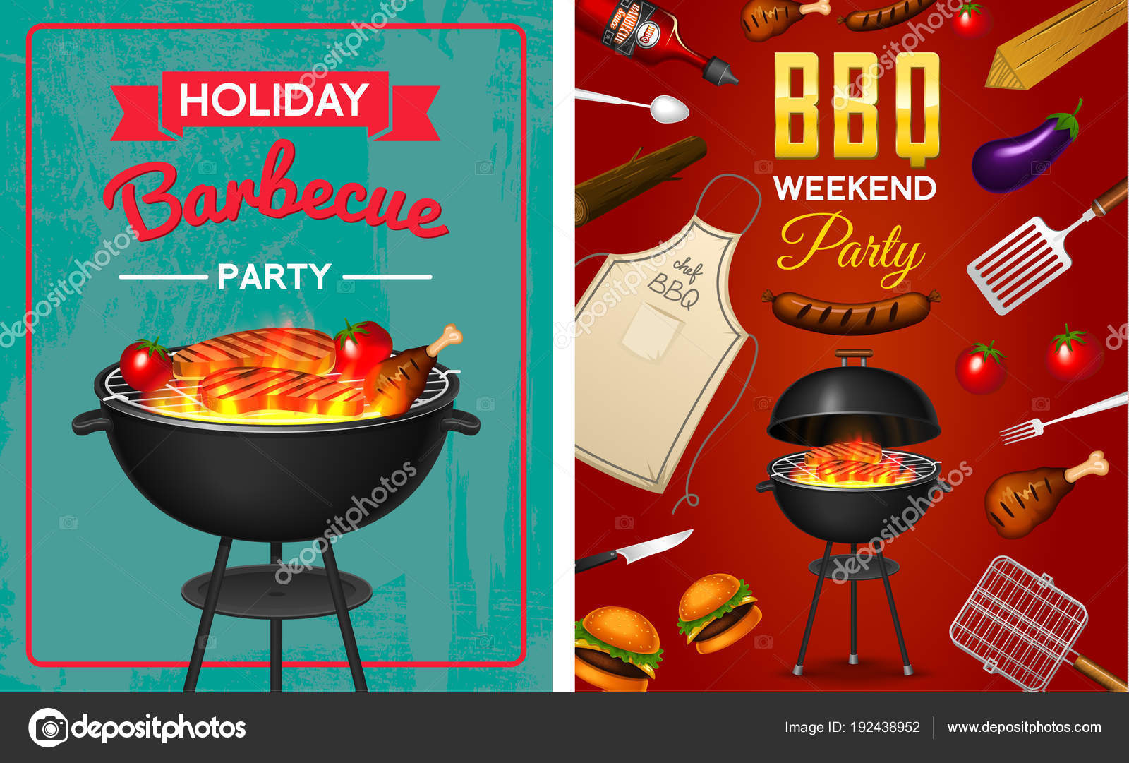 Barbecue grill elements set isolated on red background. BBQ party ...