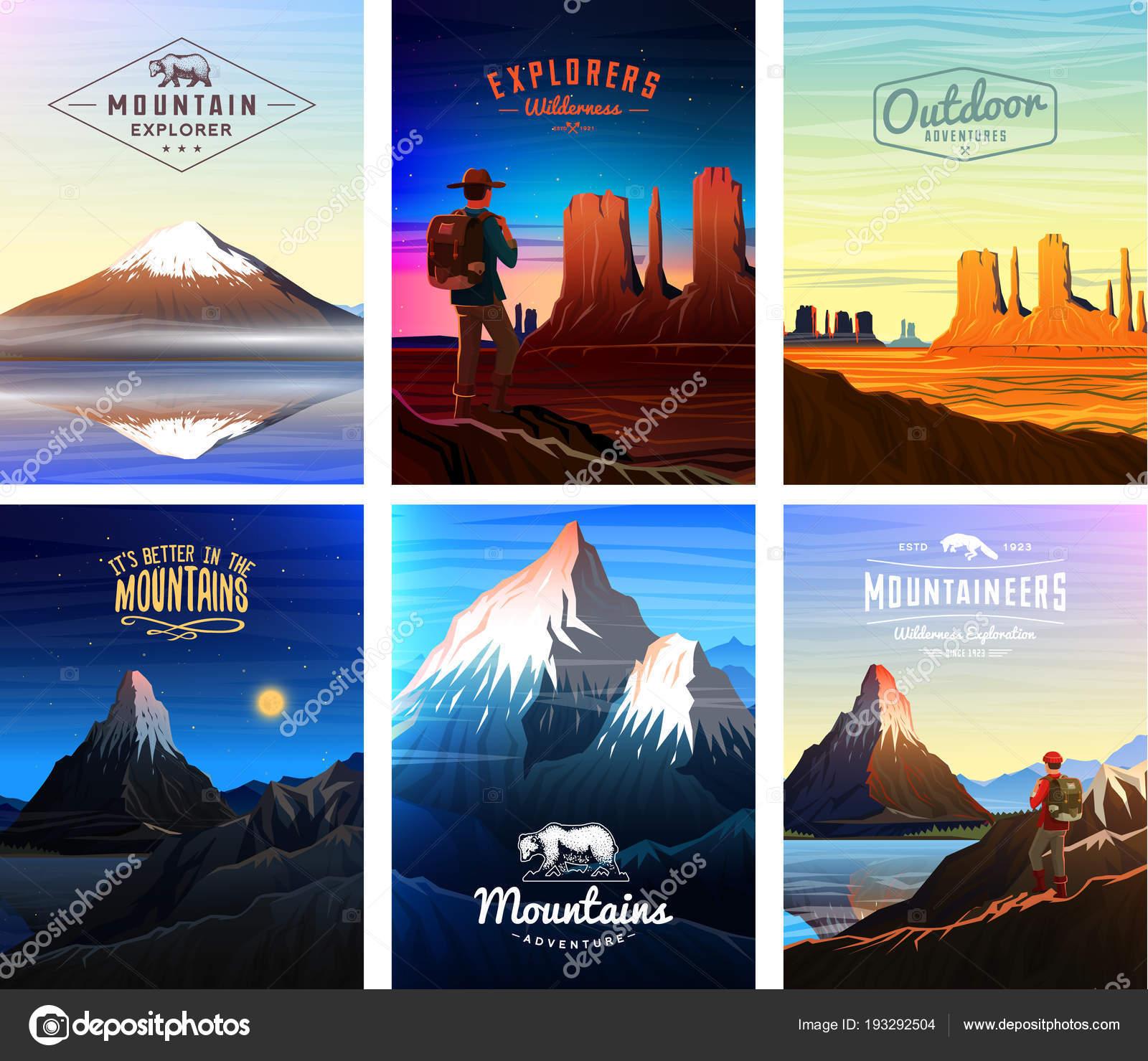Tarjeta de cumbres de montañas o un folleto. Turismo en la ...