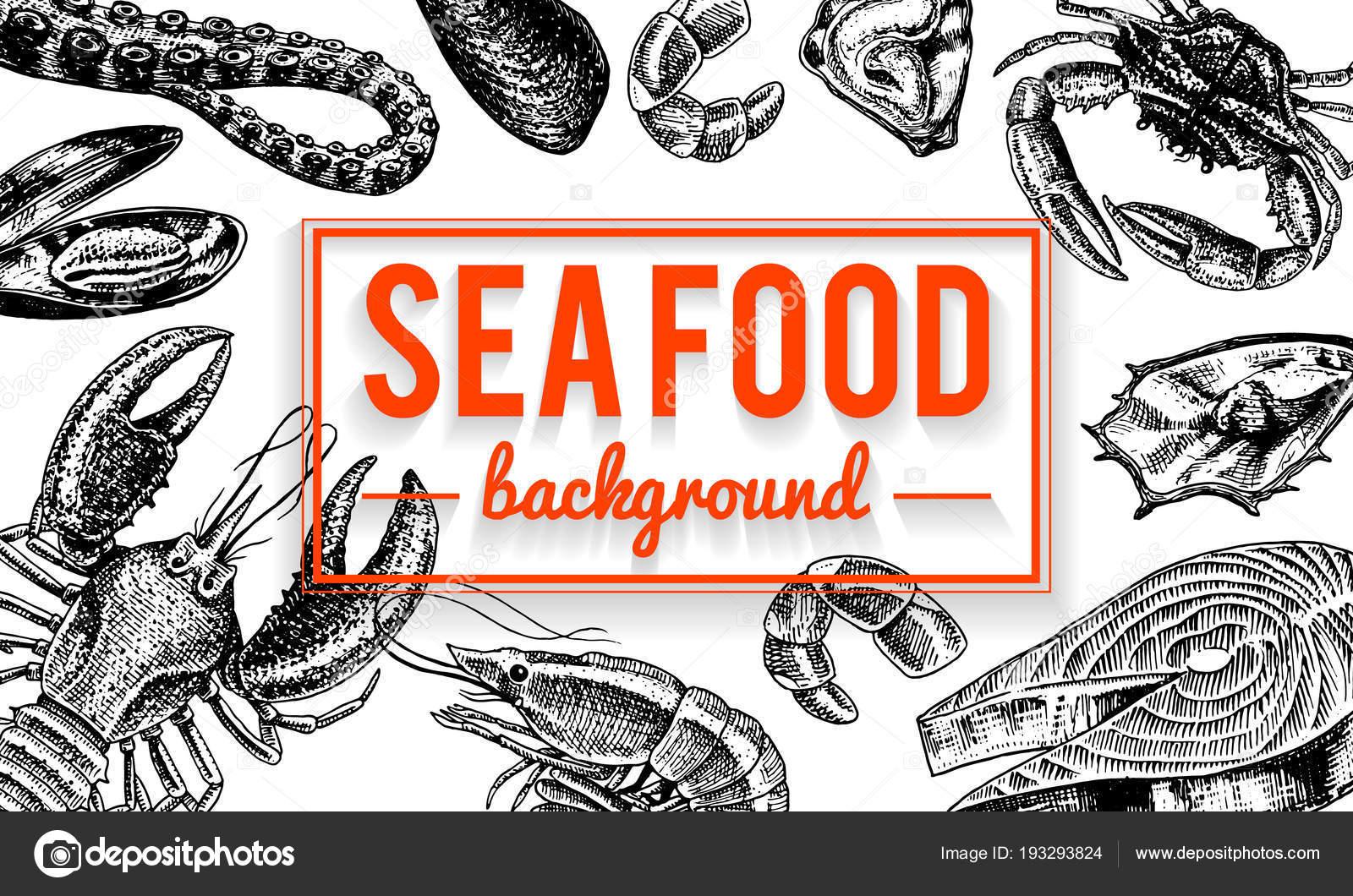 Fondo de marisco. Crustáceos, camarones, langosta o cangrejo de río ...