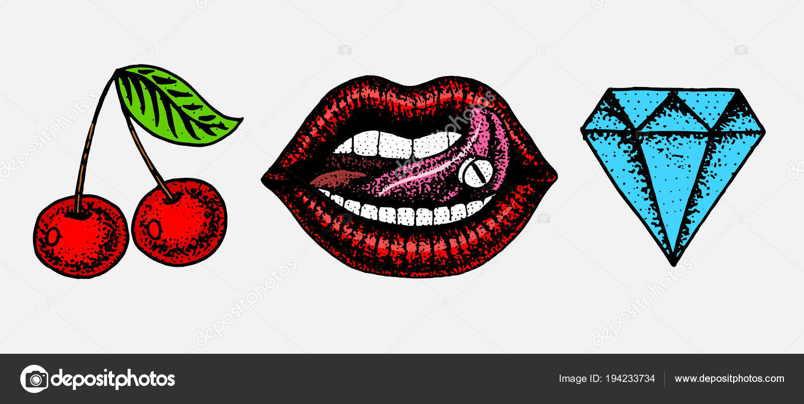 stehen Sie detaillierte Kuss oder Lippen, Kirsche und Diamant. Mode ...