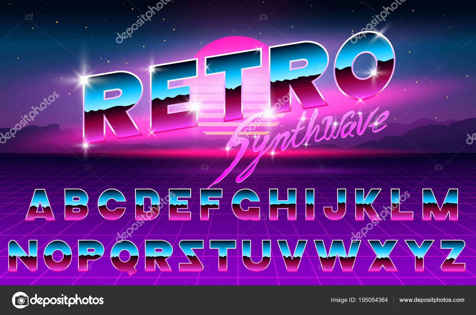 80 s purple neon retro font futuristic metal chrome letters bright