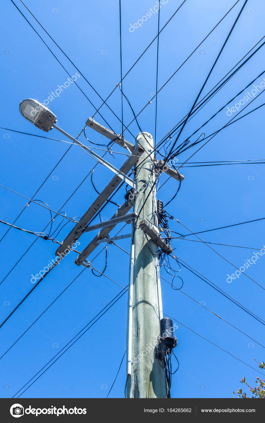 lamp post with telephone wires attached – Stock Editorial Photo ...