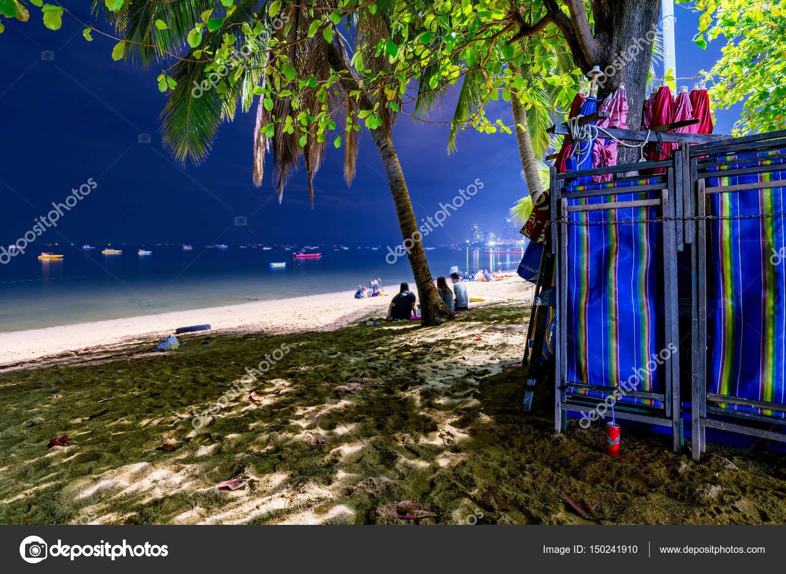 Pattaya Beach Deck Chairs At Night With Sea Stock Editorial Photo C Asiastock 150241910