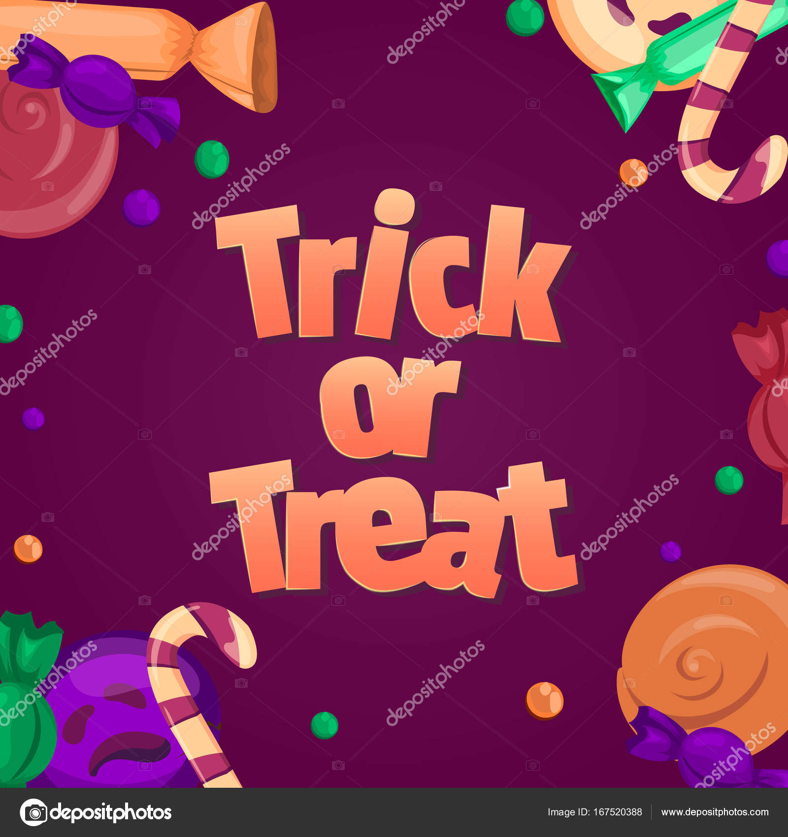 Süßes oder Saures. Halloween-Banner. Bunte Süßigkeiten und Bonbons ...