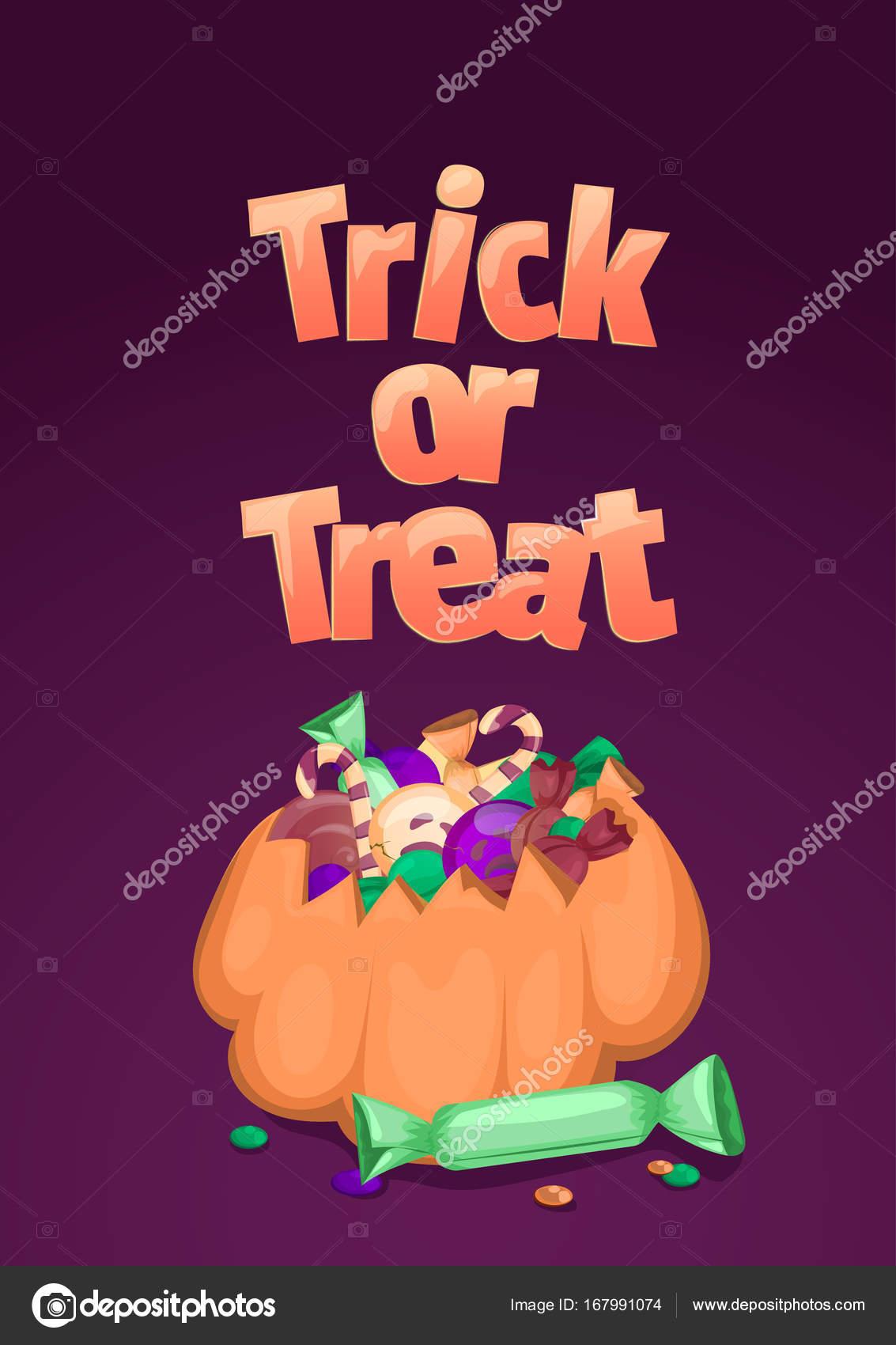 Süßes oder Saures. Halloween-Banner. Cartoon-Illustration mit Kürbis ...