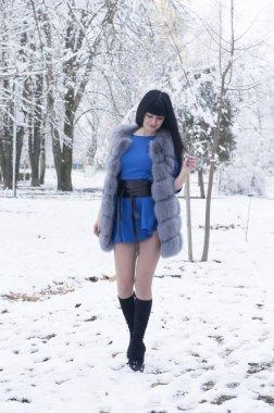 beautiful girl winter portrait of the original untreated source model posing spectacular