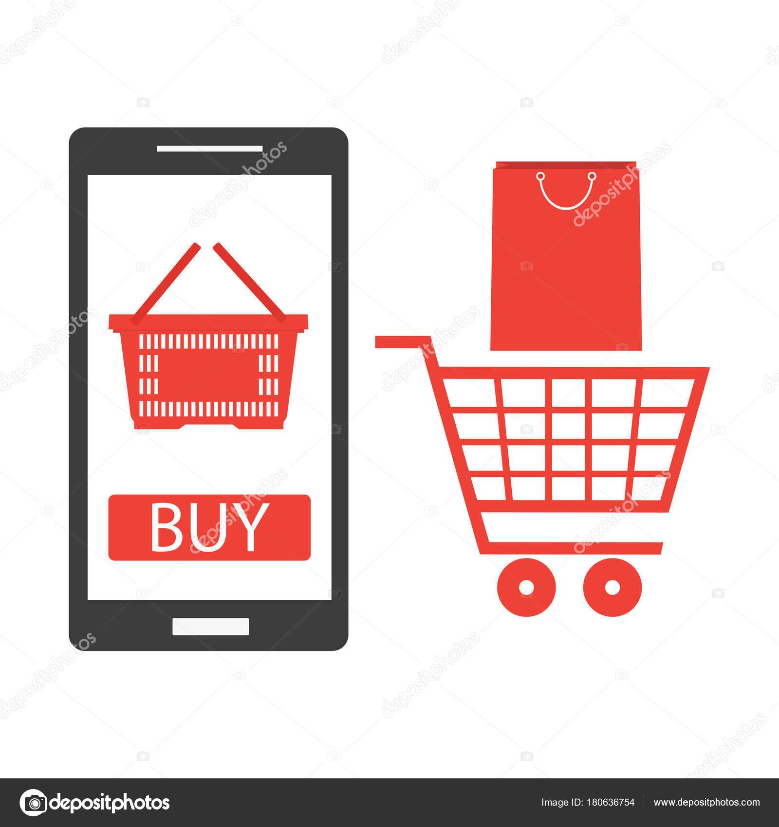 Tel fono m vil con carrito compras pedidos l nea concepto for Compra online mobili
