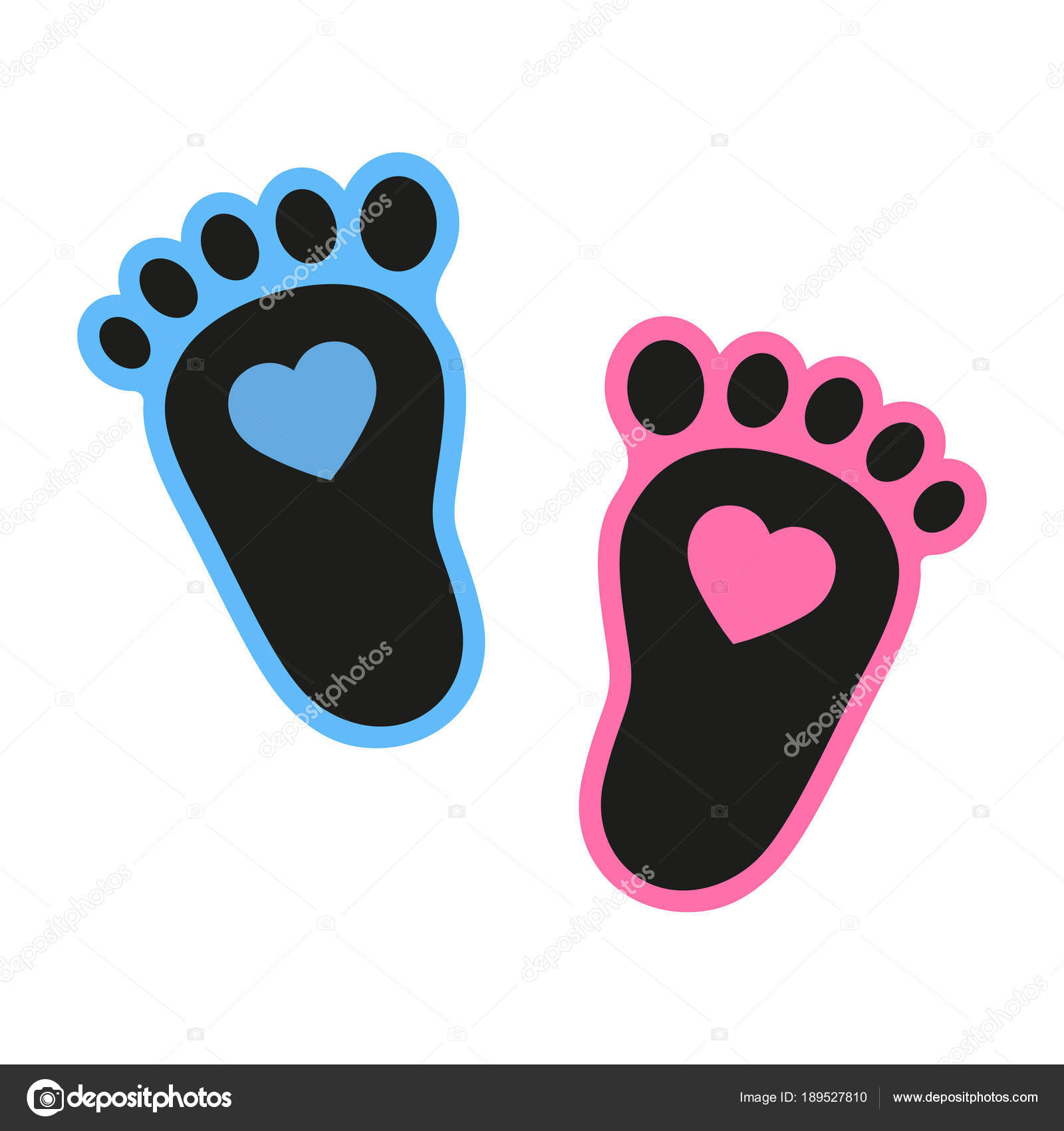 baby footprints icon heart abstract concept flat design illustration