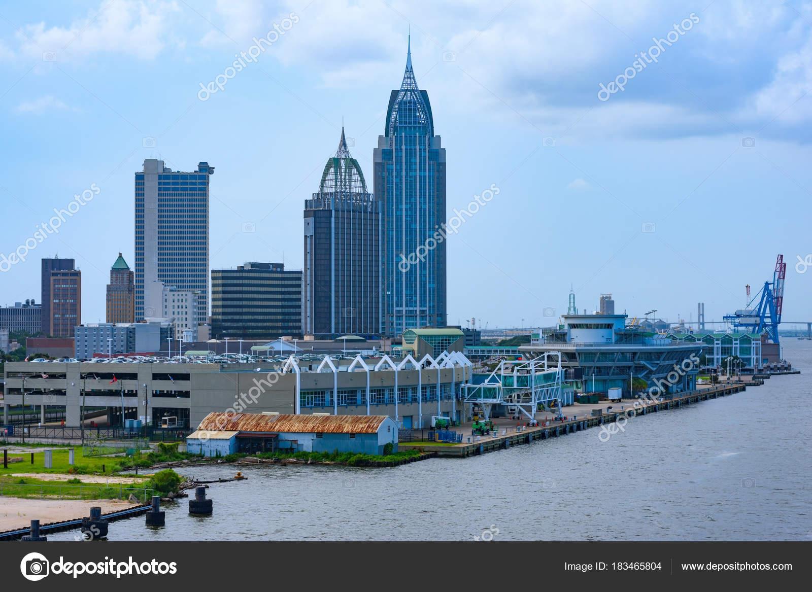 Innenstadt Von Mobile Alabama Usa Und Stadt Docks Als Vom