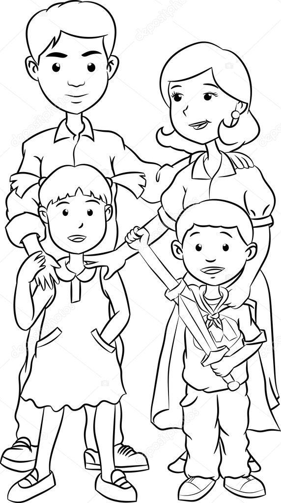Imágenes: familia feliz para colorear | Familia feliz con dos hijos ...