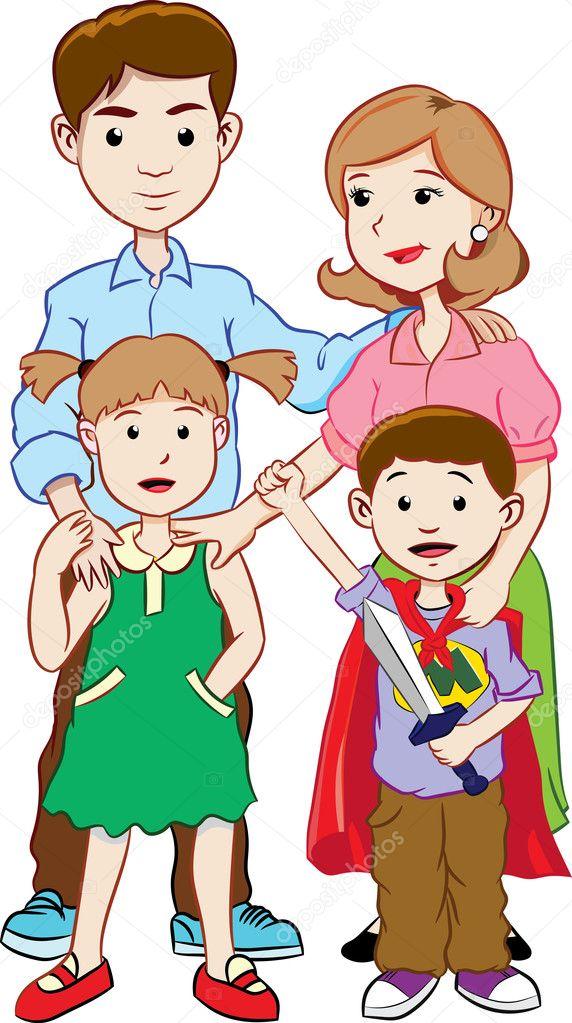 Dibujos Familias En Familia Feliz Con Dos Niños Vector De