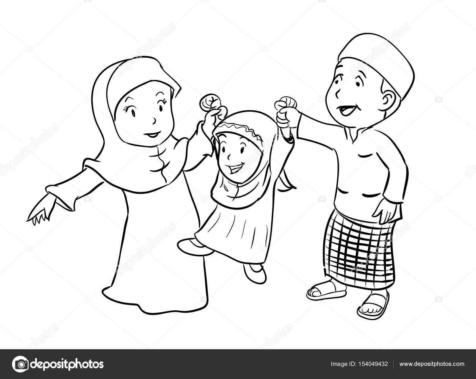 Feliz Familia Musulmana Para Colorear Ilustración Vectorial