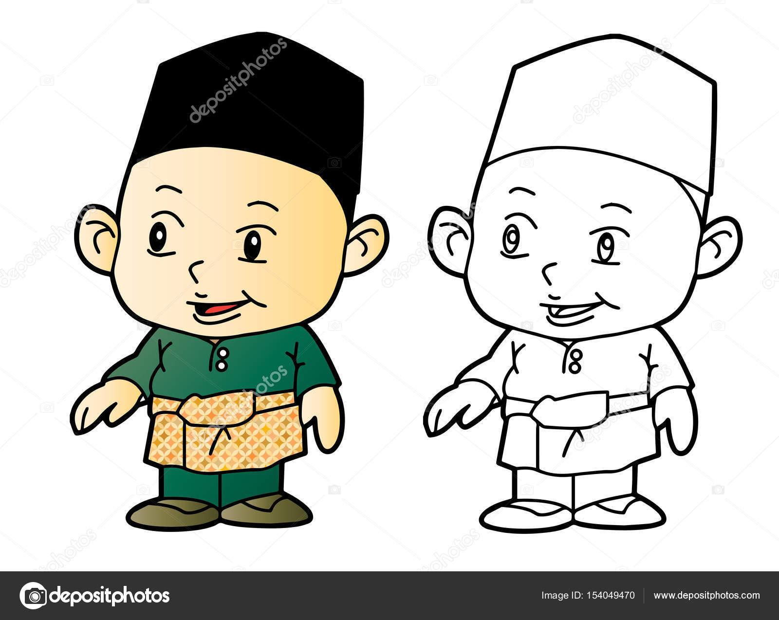 Colorear Melayu muchacho musulmán - ilustración vectorial — Archivo ...