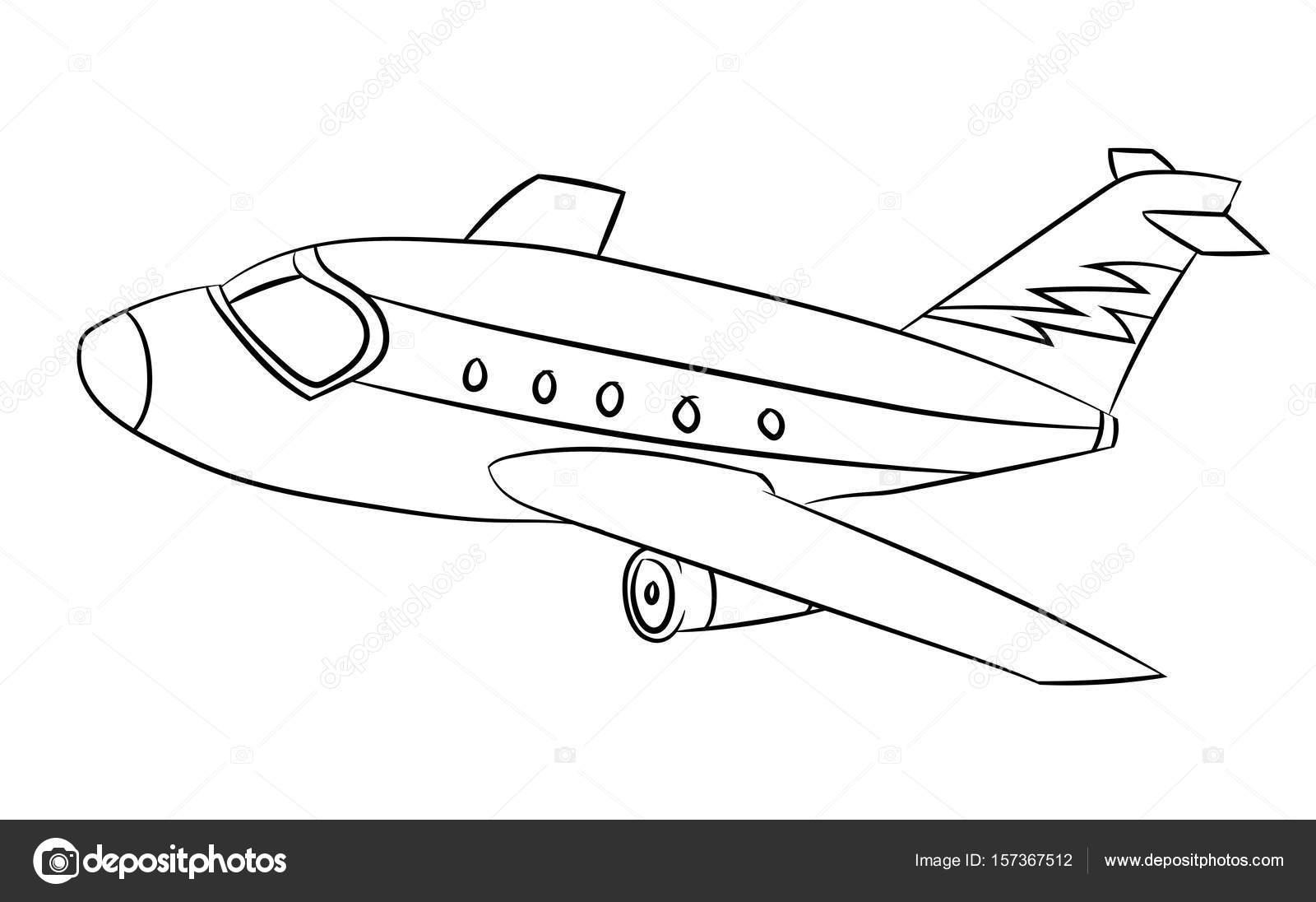 Silueta de avion para colorear | Avión - línea dibujado Vector ...