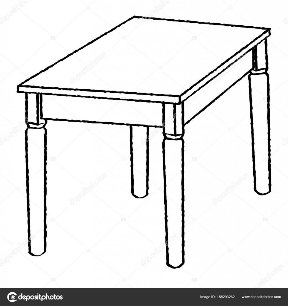 Drawing Lines In A Table : Dessin au trait de table ligne simple vecteur — image