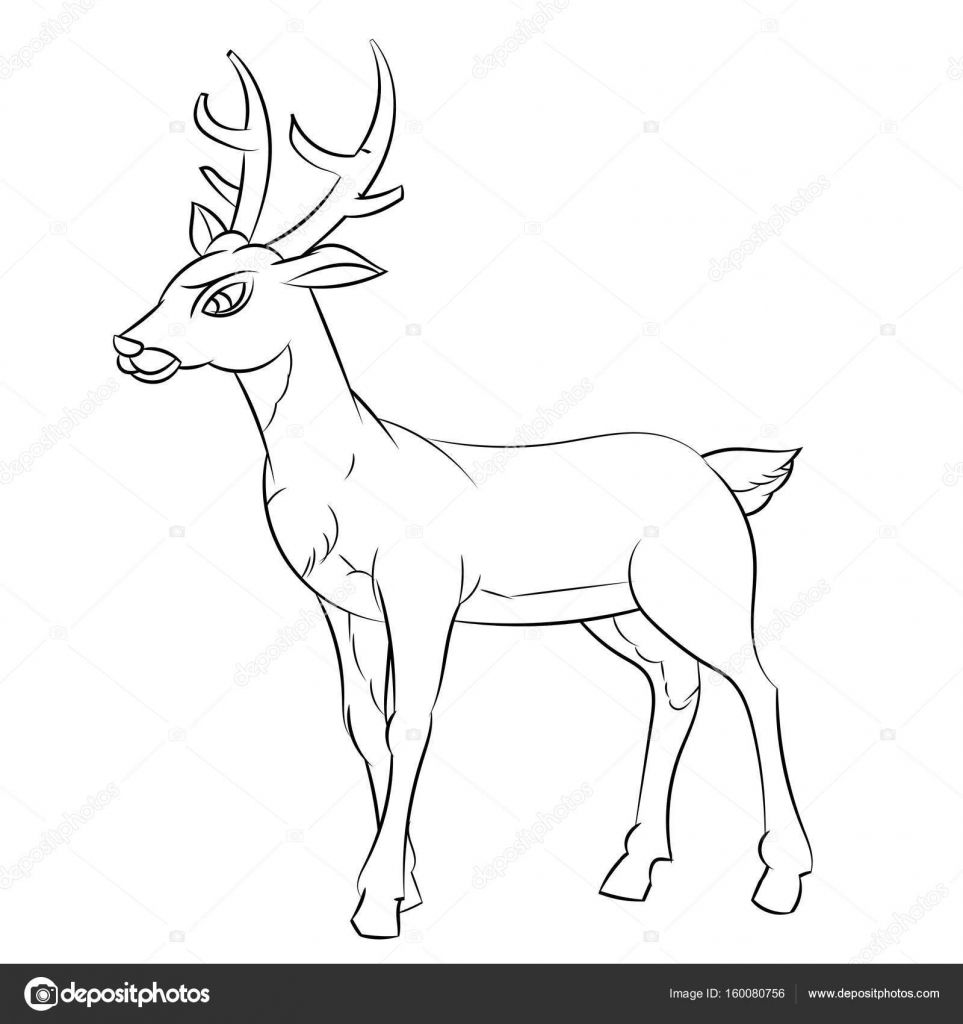 line drawing of deer cartoon simple line vector stock vector