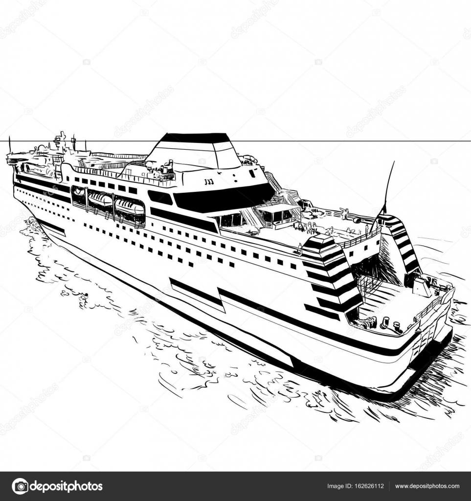 Ferry-Vector ilustración de dibujo a mano — Vector de stock ...