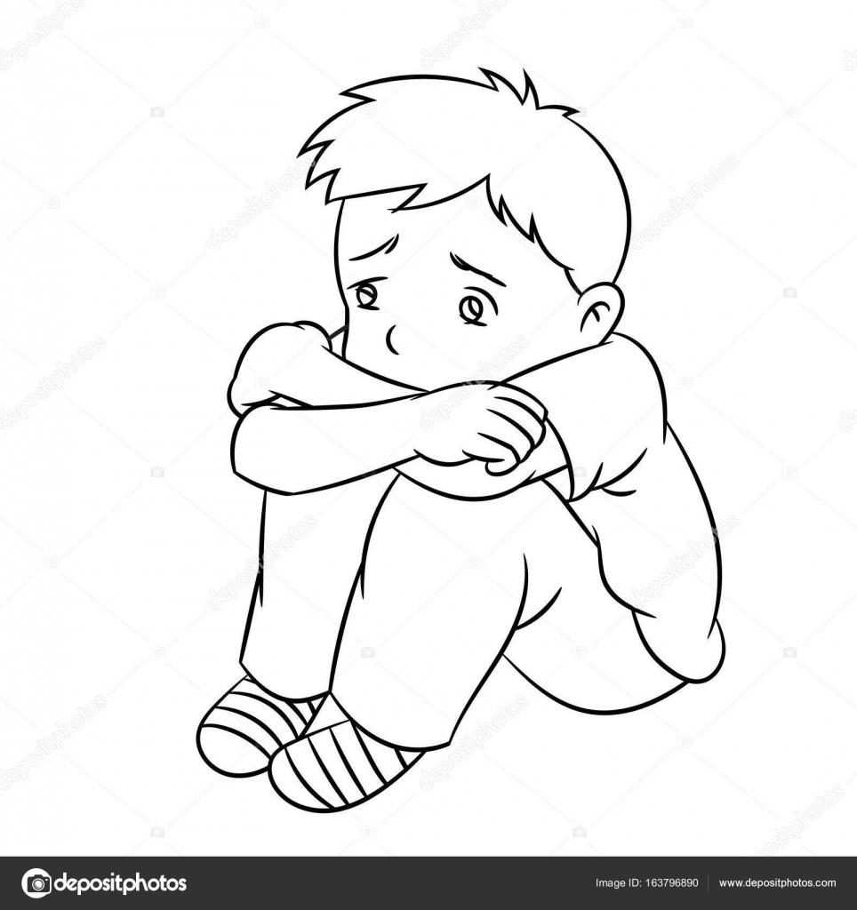 Imágenes Niño Triste Para Colorear Dibujos Animados De Chico