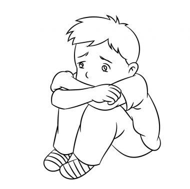 Cartoon Lonely Boy - Line Drawn Vector