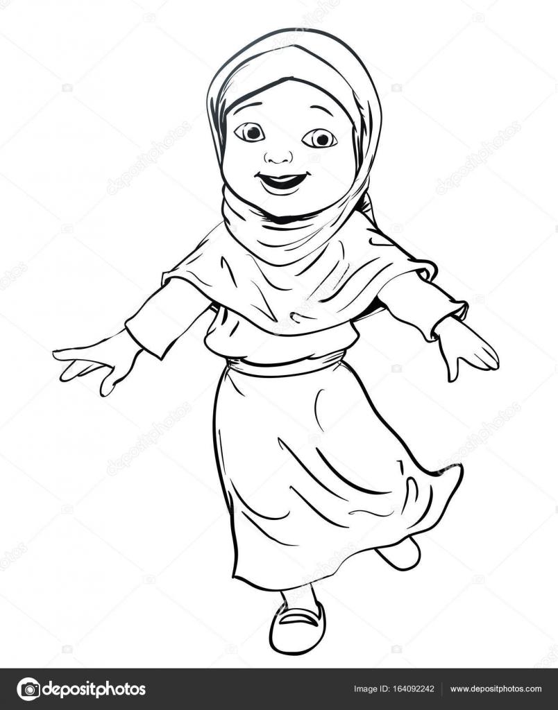 El Müslüman Kız çizimi Yapmak çalıştıran Vektör çizim Stok
