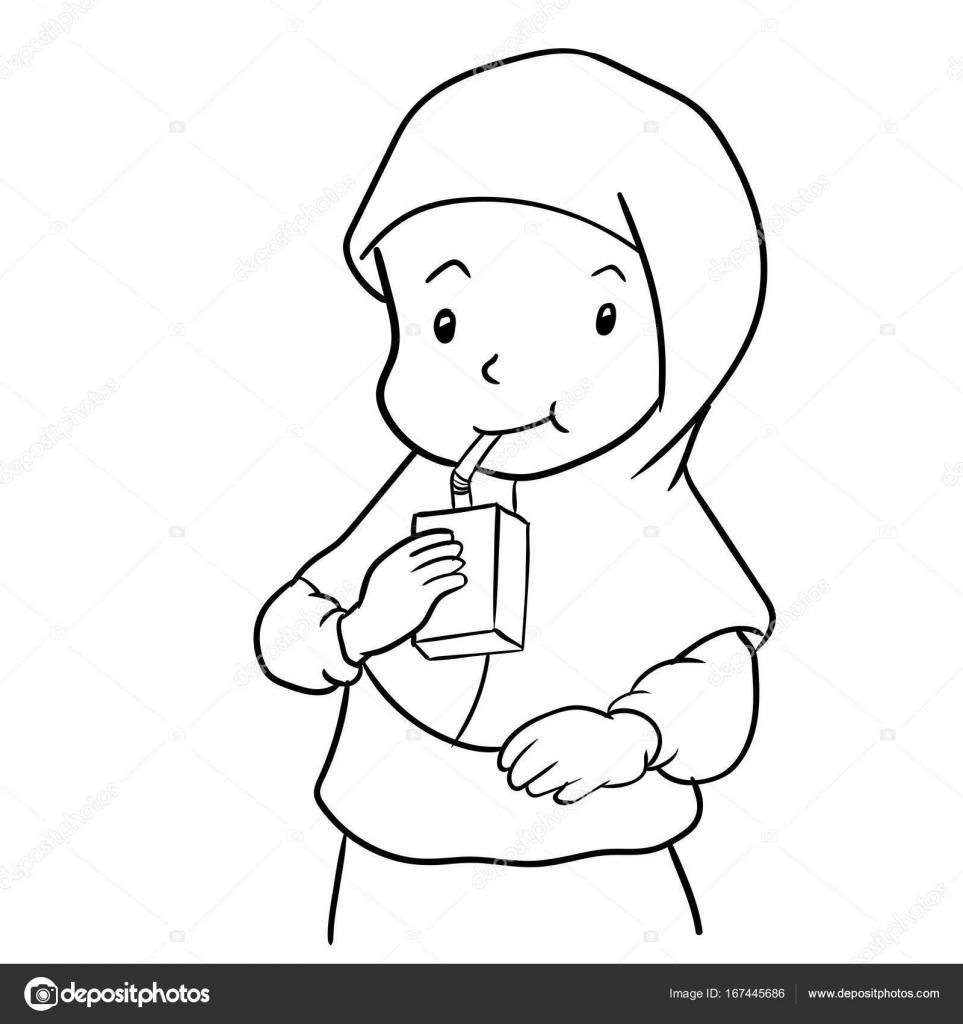 Main Dessin Fille Musulmane Boire Lait Vector Illustration