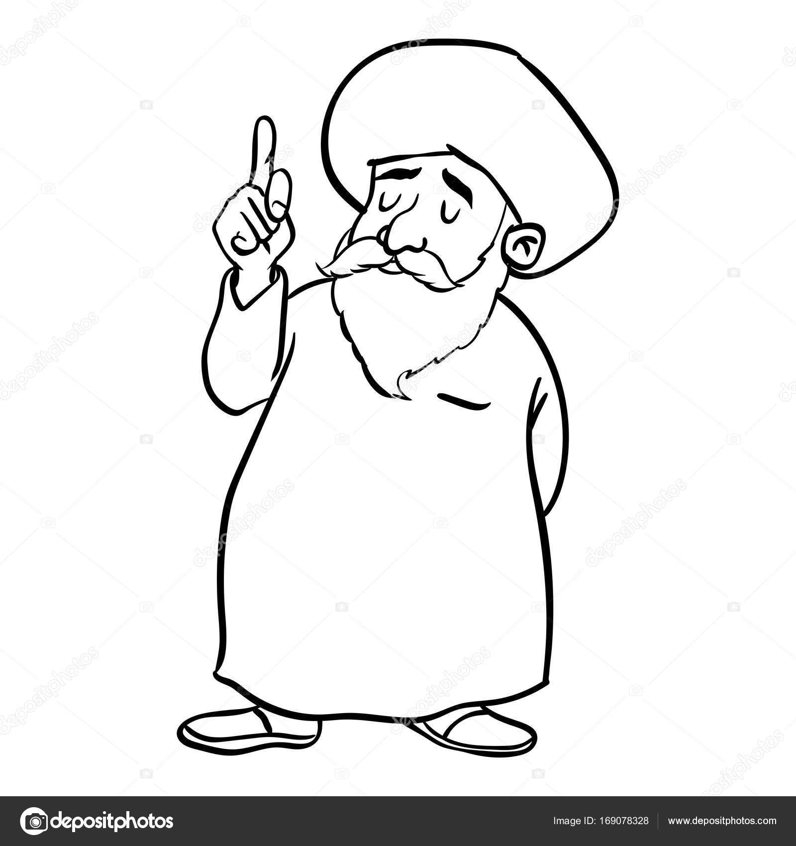 Müslüman Yaşlı Adam Ayakta Vektör çizilmiş Karikatür Stok Vektör