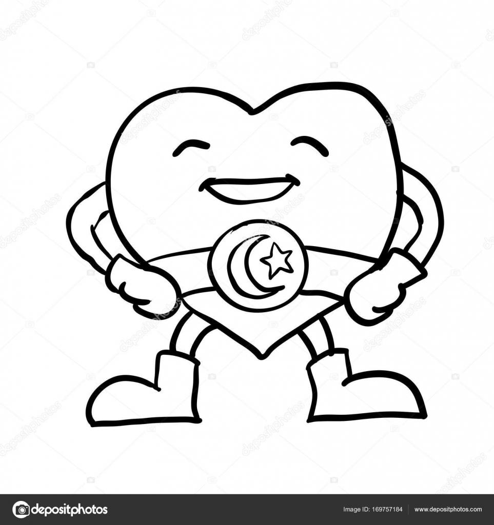 Coloriage Etoile Et Coeur.Dessin Anime Coeur Avec Ceinture Etoile De Crescent Vecteur
