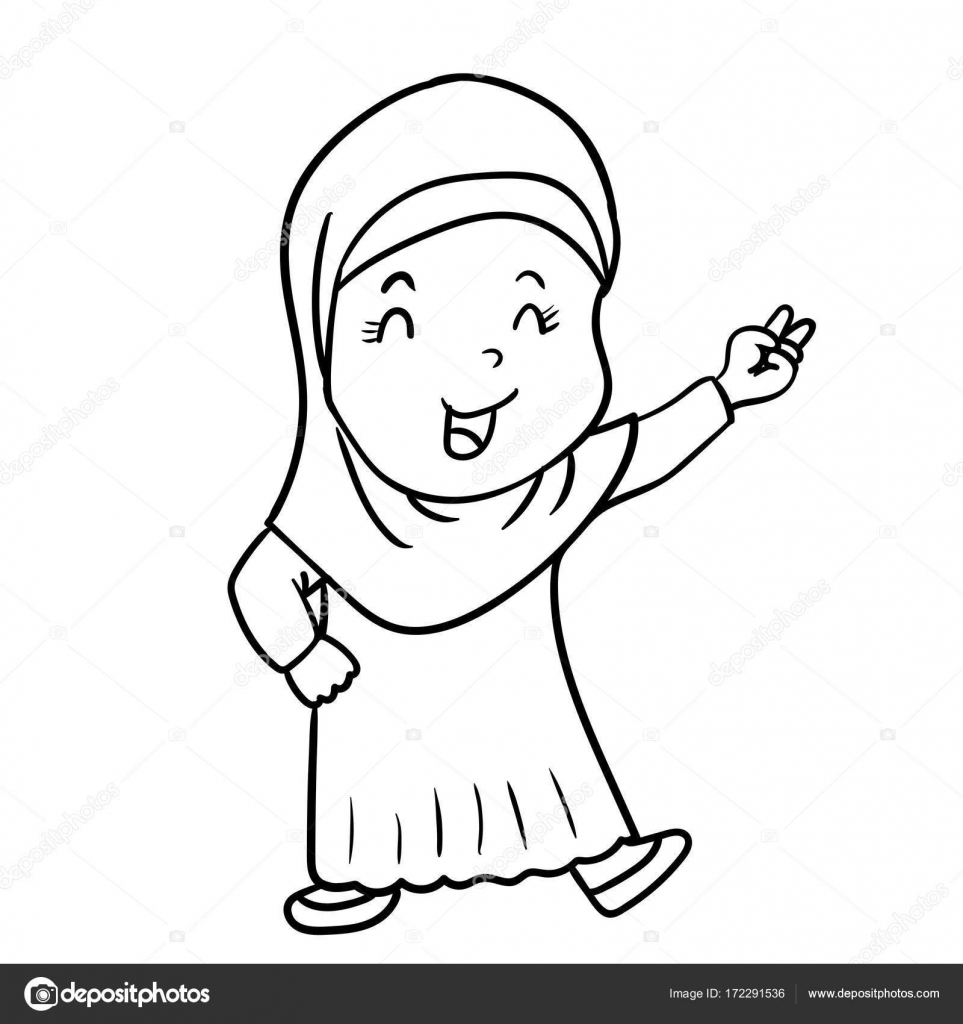 Pictures drawing of a muslim girl hand drawing muslim