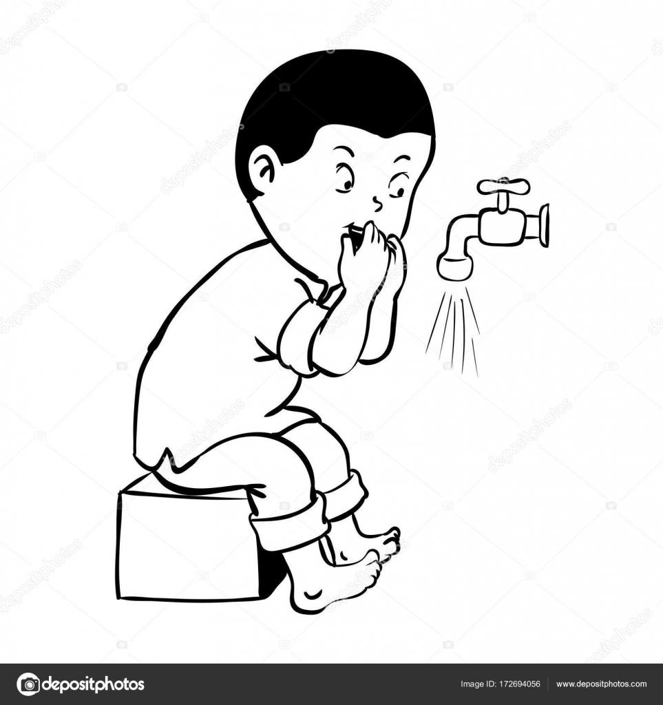 çocuk Ağız Wudhu Vektör çizim Için Temizlik Stok Vektör