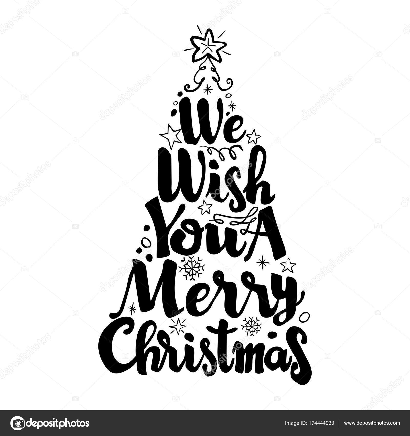 We wish you a merry christmas, lettering vector — Stock Vector ...