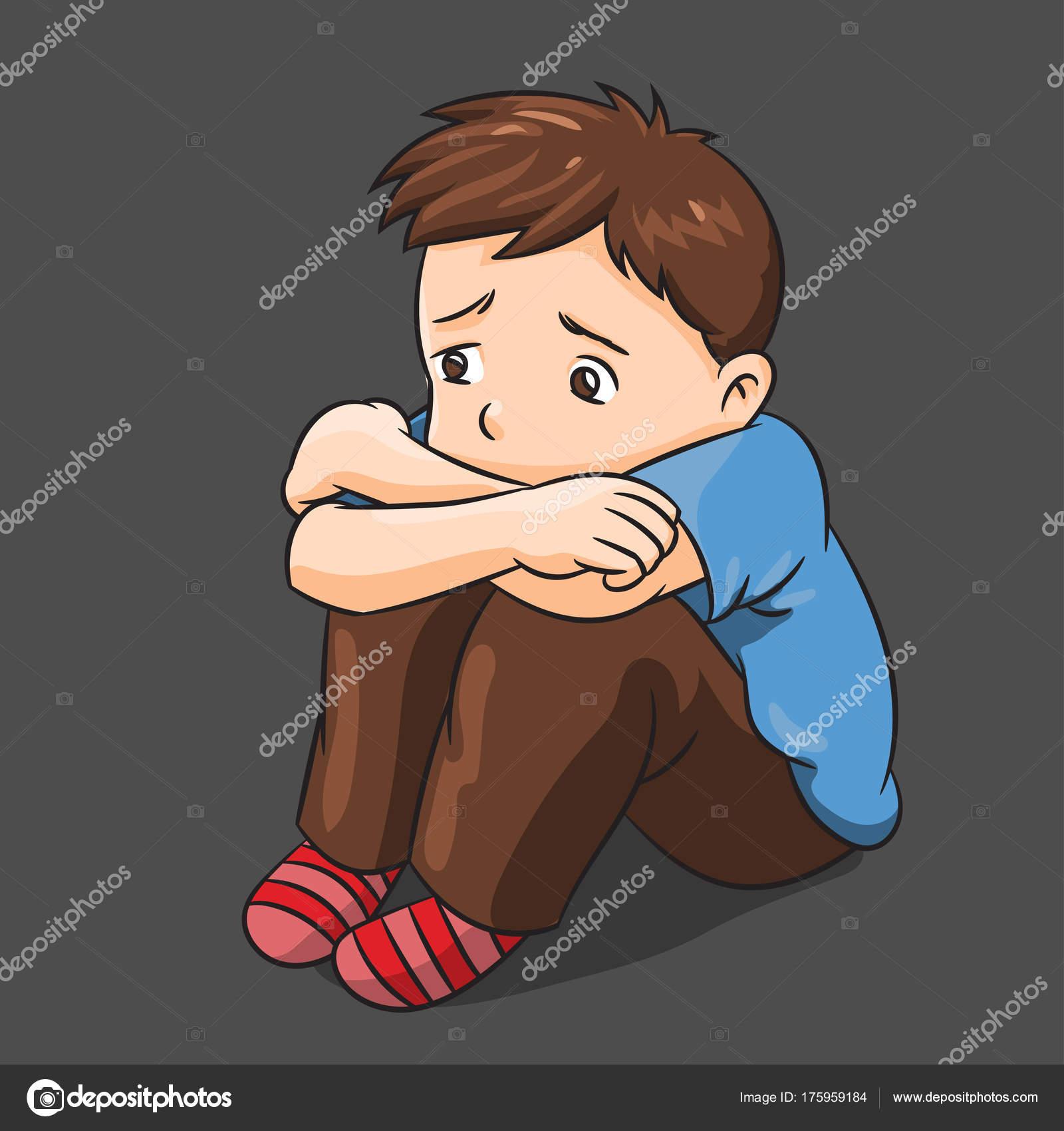 Dessin animé lonely boy illustration vectorielle image vectorielle