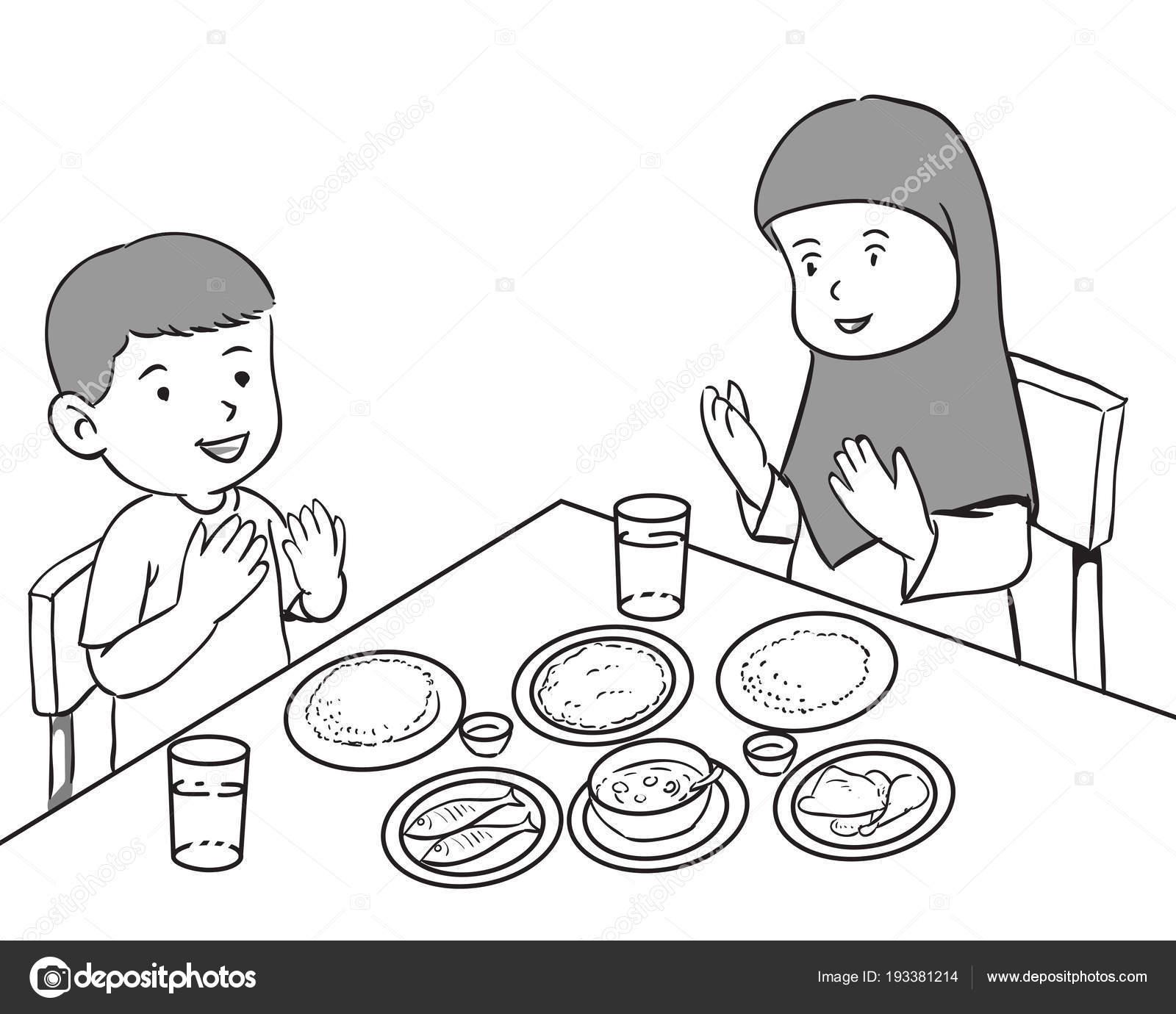 Müslüman çocuklar Yemek Stok Vektör Dcliner07gmailcom 193381214