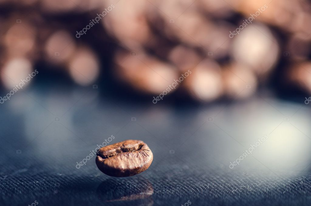 Coffee Beans On A Black Background Raw Coffee Beans