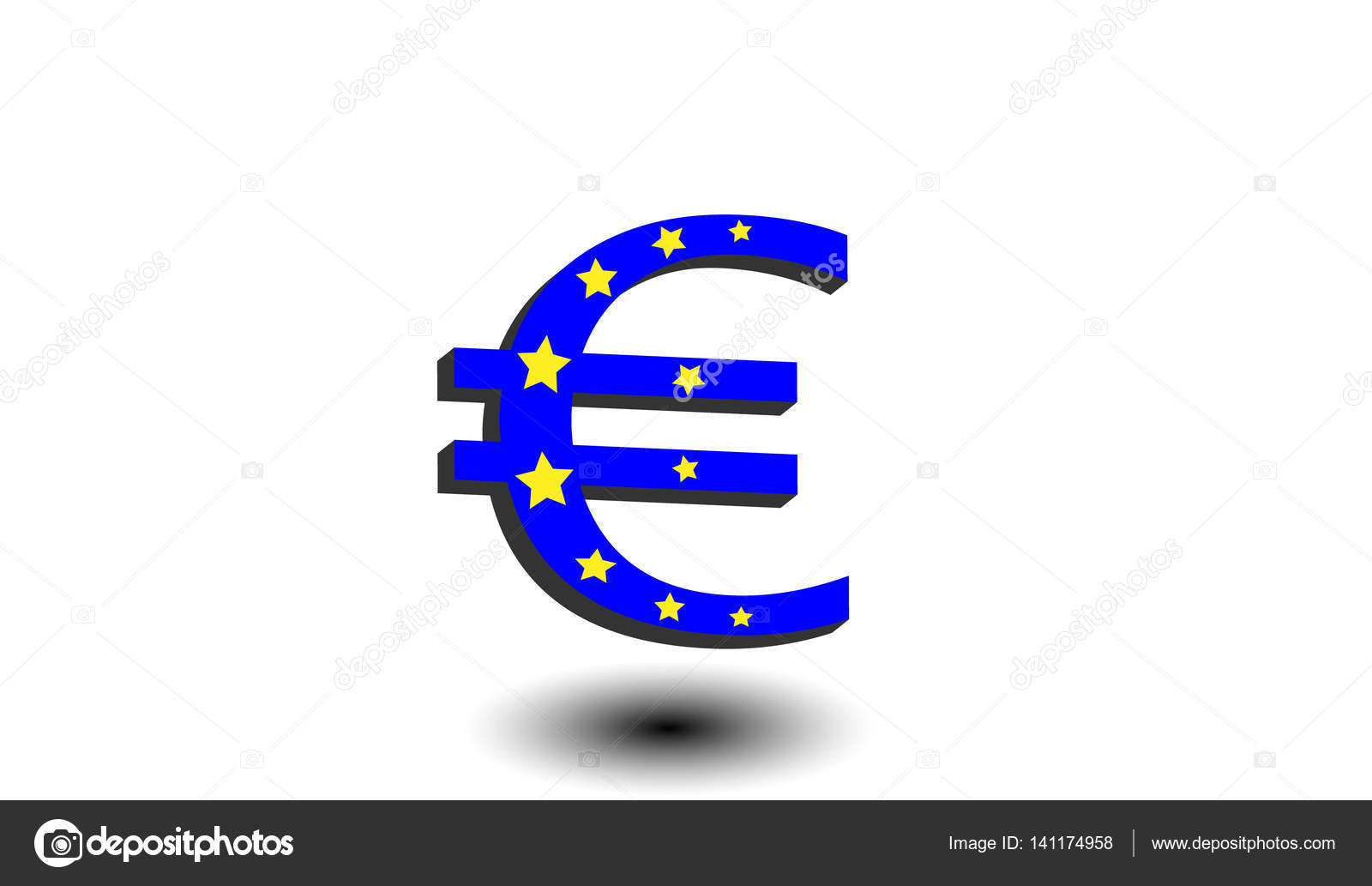 Blue euro with golden stars flag of europe currency symbol with blue euro with golden stars flag of europe currency symbol with shadow on a biocorpaavc Images