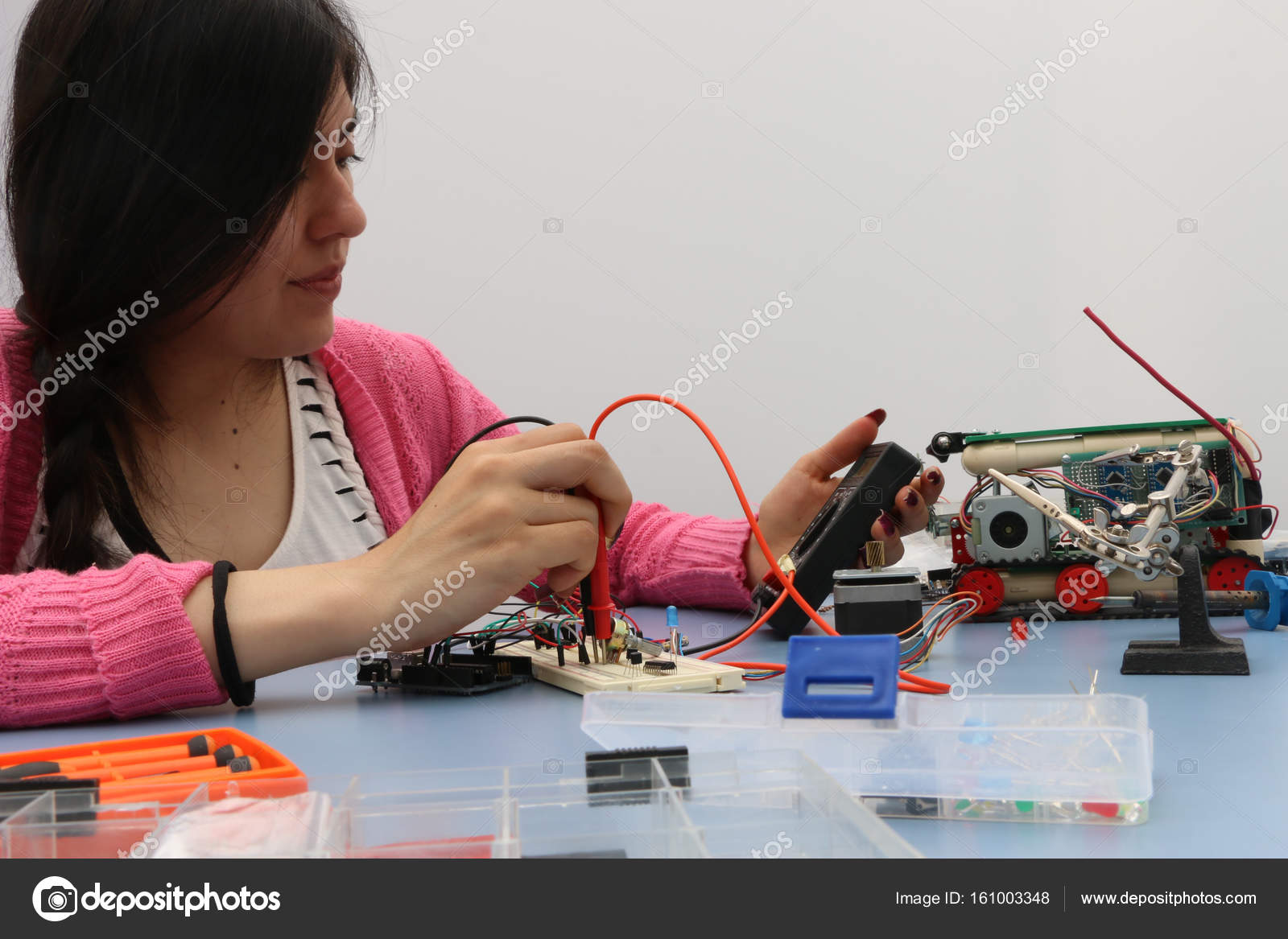 Technology Student Learning To Prototype Electronic Circuits For Circuit Design Robotics Is All Stock Photo