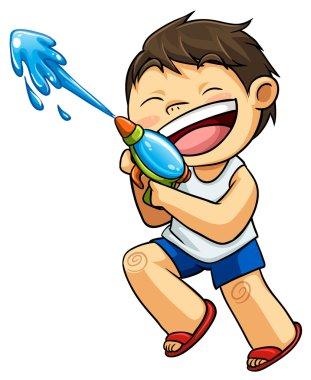 kid and water gun