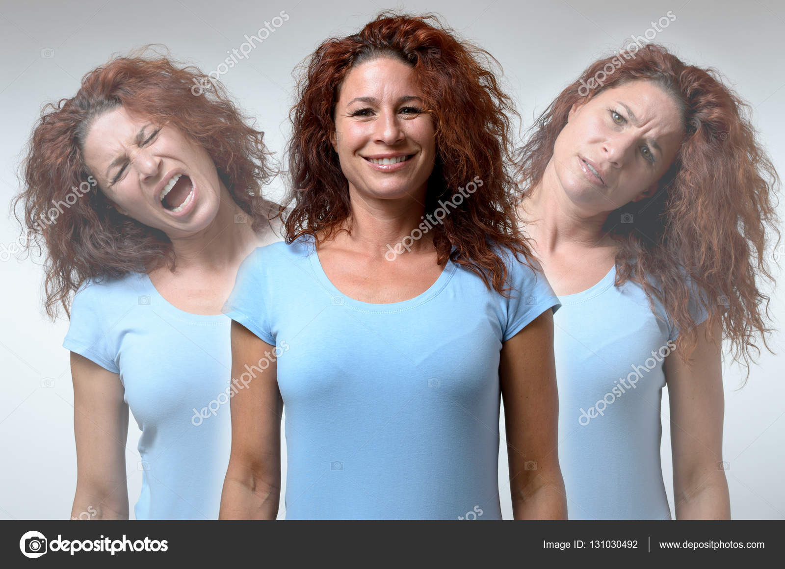 Three Versions Of Woman In Different Moods U2014 Stock Photo