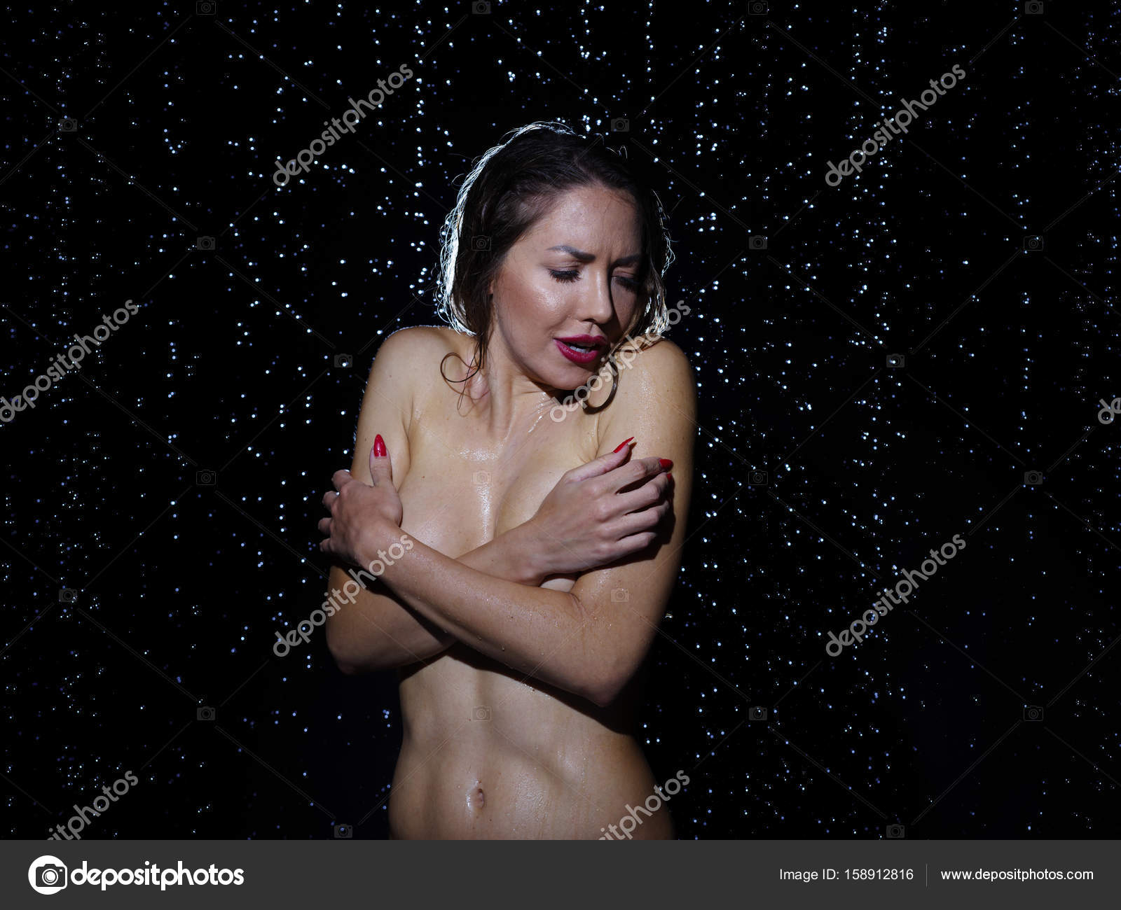 Cold in naked pic posing shivering woman