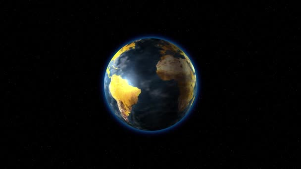 The earth with yellow continents rotates