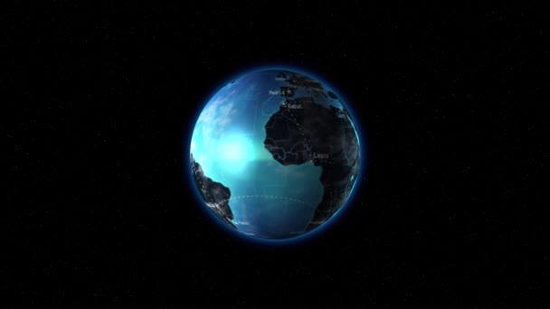 Země s modrými oceány se otáčí