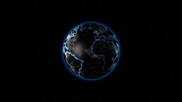 Země se světélkujícími kontinenty ve vesmíru