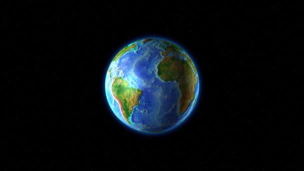 Země se zelenými kontinenty se otáčí