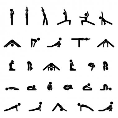 A set of illustrations stick figure for website - vector icons charging fitness sport training physical jerks exercise coaching people human silhouette pictogram icon of Webit.Top