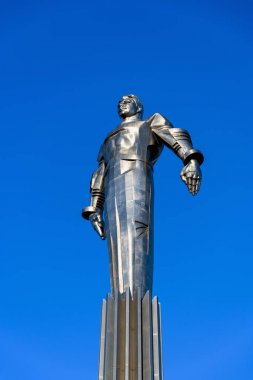 Moscow, Russia, February 2020. Monument to the first cosmonaut Yuri Gagarin in Moscow close-up.