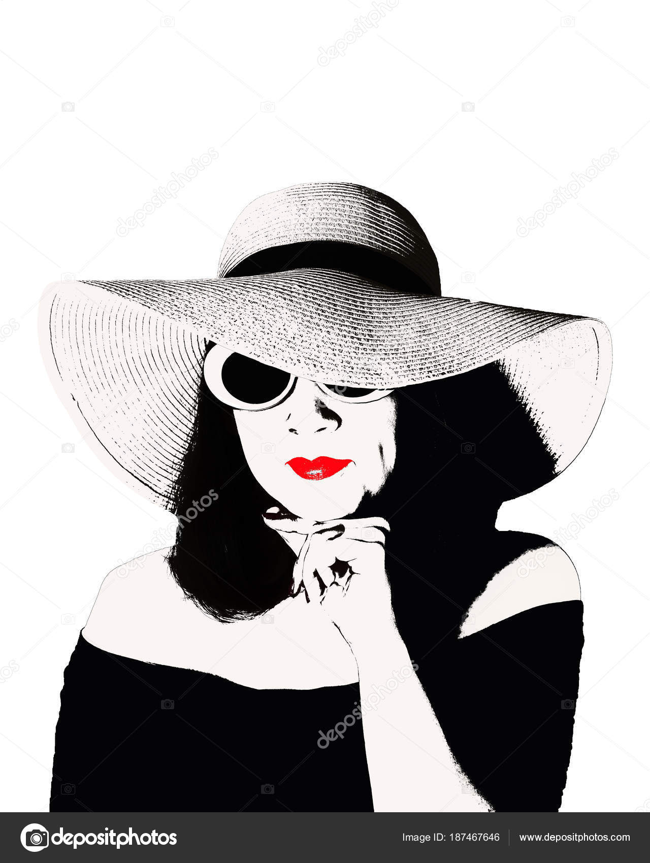 004e4be87 Foto no estilo da pop art. Jovem mulher linda em um vestido preto retrô e  um grande chapéu. Estilo de moda vintage — Foto de ...