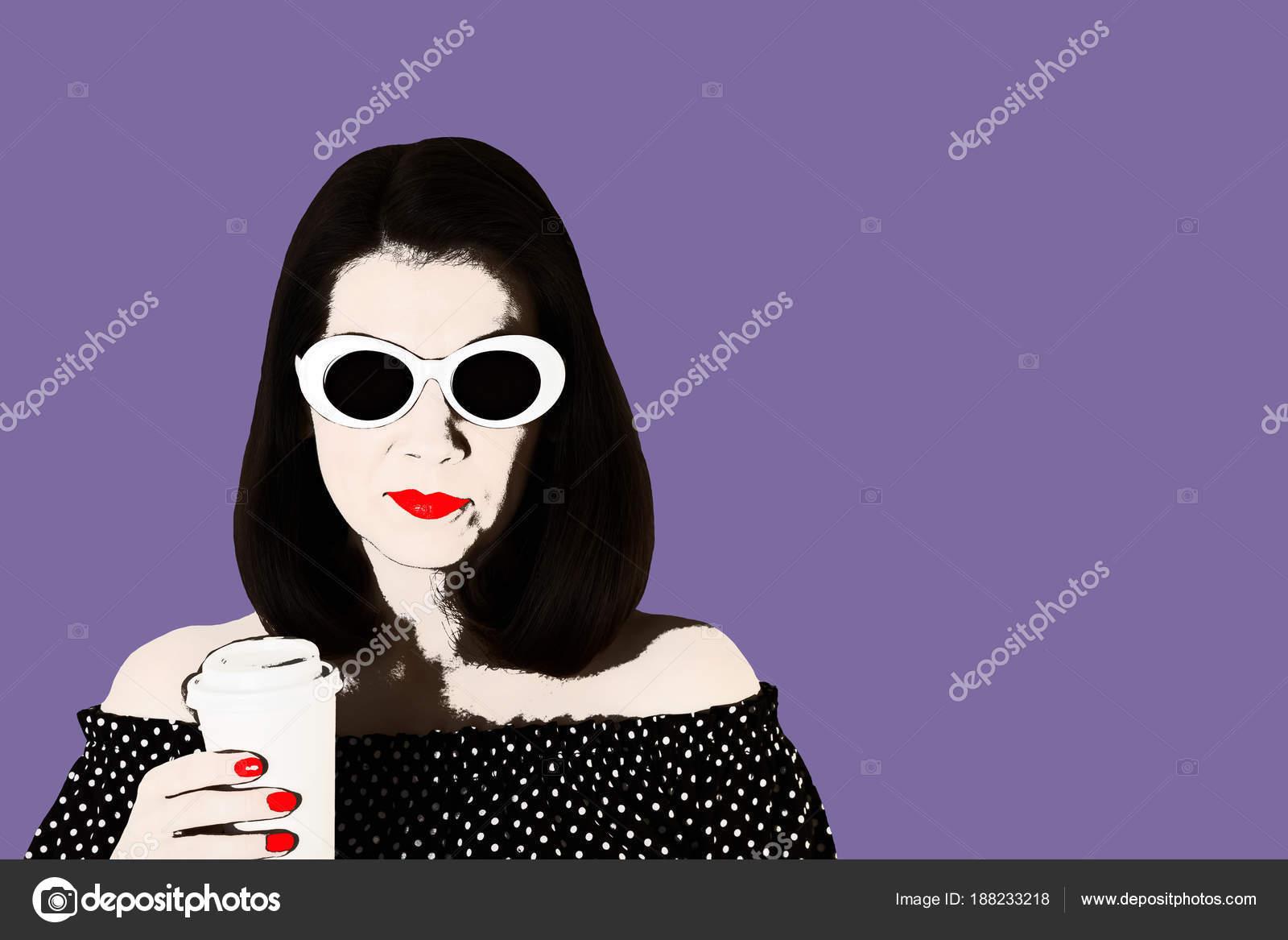Foto en el estilo del arte pop. Mujer en un vestido blanco y negro ...