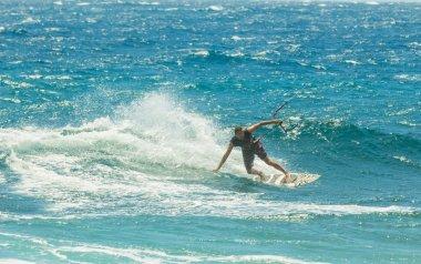 kitesurf in the sea in front of El Medano Tenerife